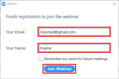 Enter details for webinar