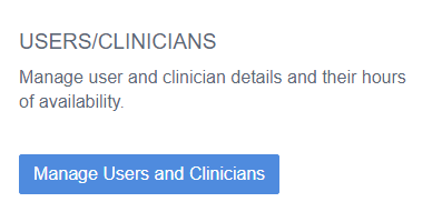 User Clinician Settings