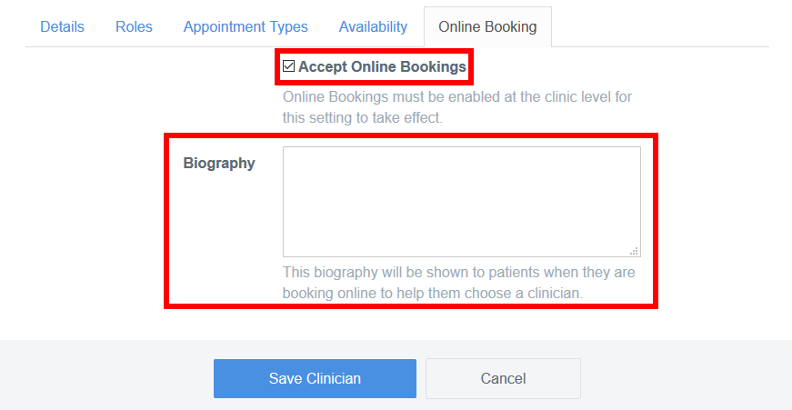 online booking clinician settings